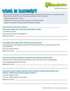 What Is Honesty? Worksheet