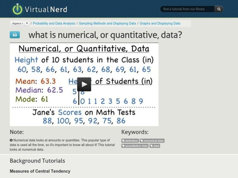 What is Numerical, or Quantitative, Data? Video