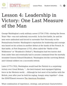What Made George Washington a Good Military Leader? Lesson Plan