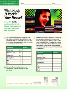 What Music is Rockin' Your House? Worksheet