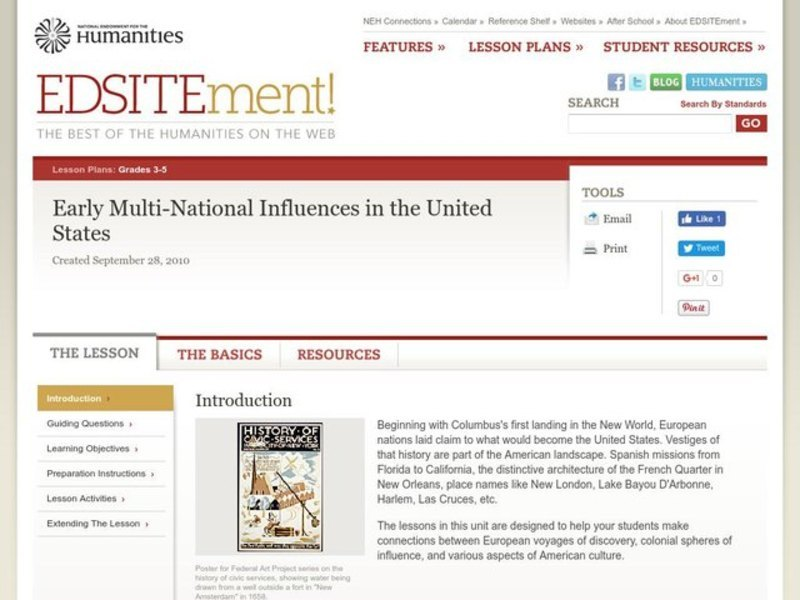 What They Left Behind: Early Multi-National Influences in the United States Lesson Plan