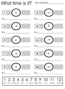 What Time is It? Worksheet
