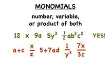 What's a Monomial? Video