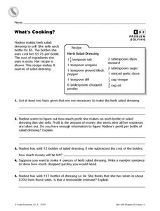 What's Cooking? Worksheet