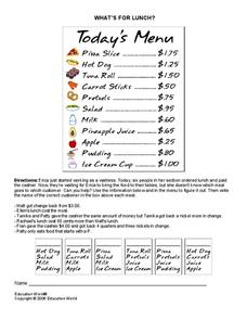 What's for Lunch? Worksheet