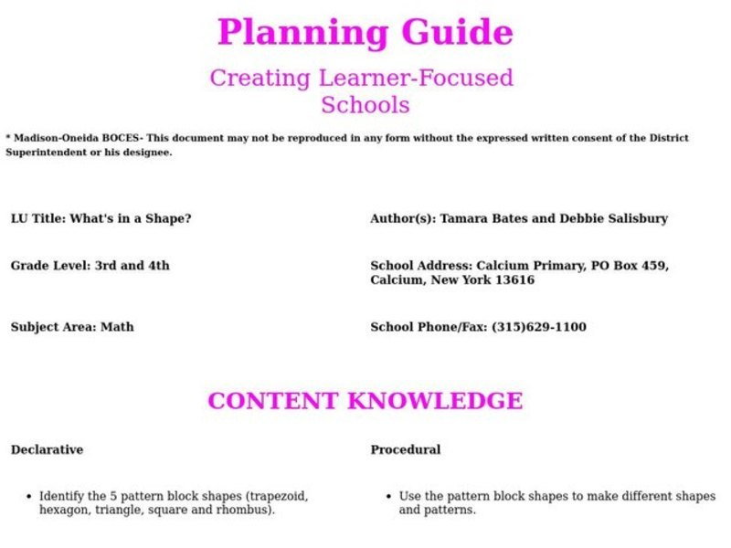 What's in a Shape? Lesson Plan