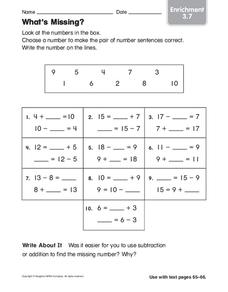 What's Missing? Worksheet