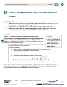Using the Number Line to Model the Addition of Integers Assessment