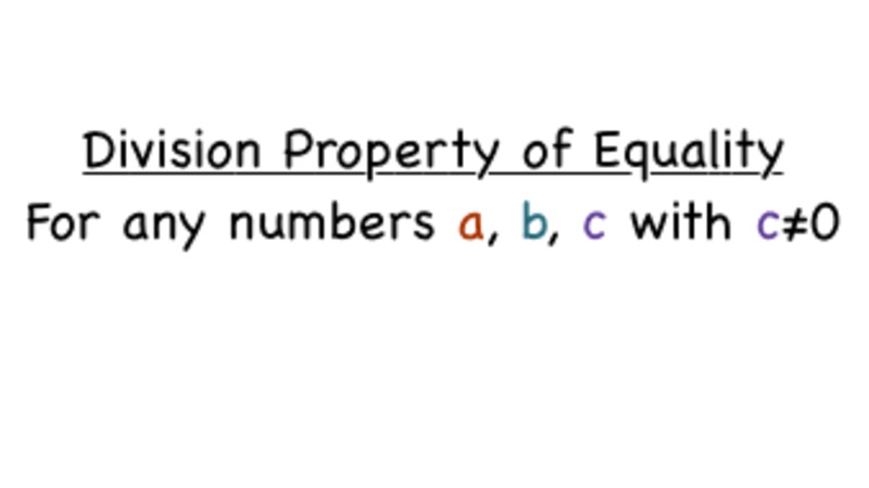 What's the Division Property of Equality? Video