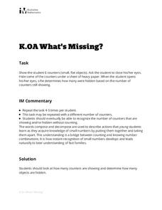 What's Missing? Lesson Plan