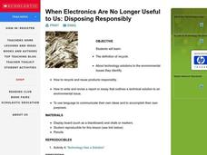 When Electronics Are No Longer Useful to Us: Disposing Responsibly Lesson Plan
