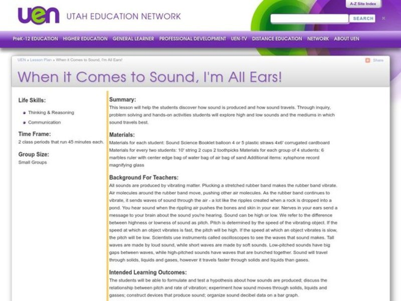 When It Comes To Sound, I'm All Ears! Lesson Plan