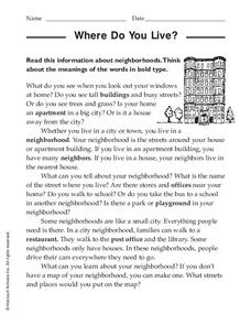 Where Do You Live? Worksheet
