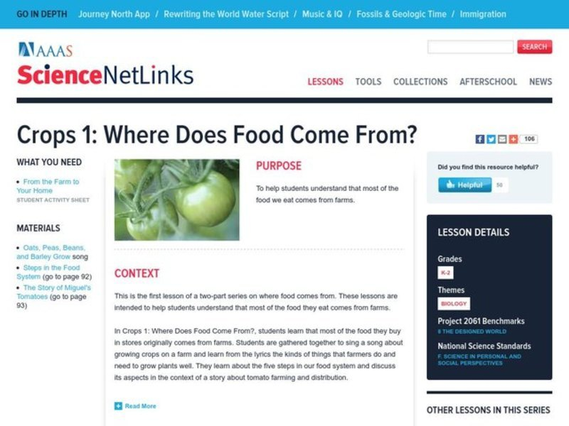 Where Does Food Come From? Lesson Plan