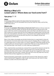 Where Does Our Food Come From? Lesson Plan