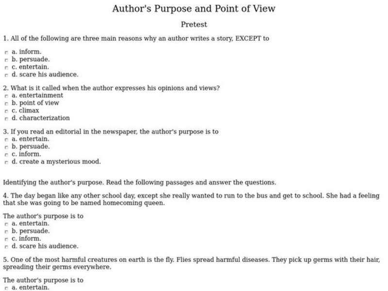 Author 39 S Purpose And Point Of View Pretest Worksheet For