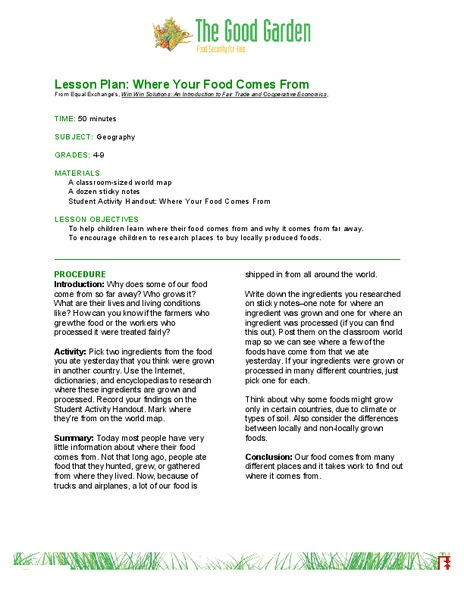 Where Your Food Comes From Lesson Plan