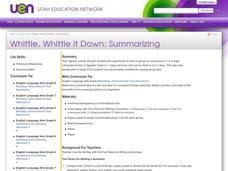 Whittle, Whittle it Down: Summarizing Lesson Plan