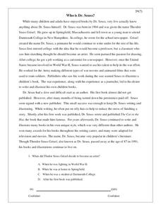 Who is Dr. Seuss? Worksheet