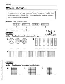 Whole Fractions Worksheet