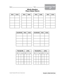 Whole-Number Place-Value Charts Worksheet