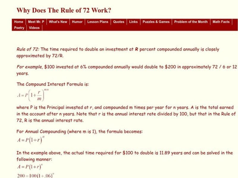 Why Does the Rule of 72 Work Worksheet