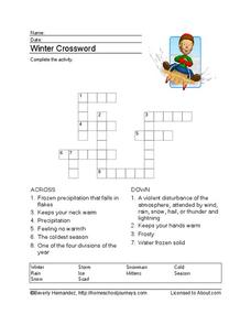 Winter Crossword Worksheet