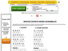 Winter Sports Word Jumbles Worksheet