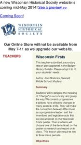 Wisconsin Firsts Lesson Plan