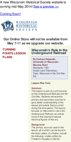 Wisconsin's Role in the Underground Railroad Lesson Plan