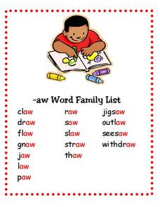 Word Family List Lesson Plan