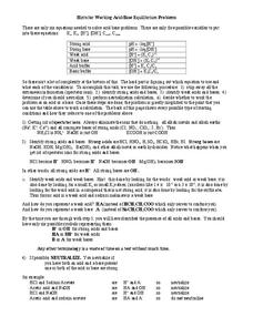 Acid/Base Equilibrium Problems Worksheet