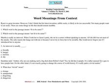 Word Meaning from Context Worksheet
