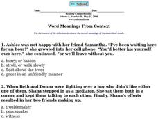 Word Meanings From Context Worksheet