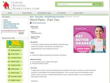 Word Pairs Lesson Plan