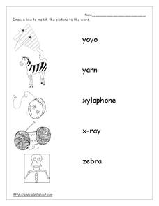 Word Recognition: X, Y, Z Worksheet