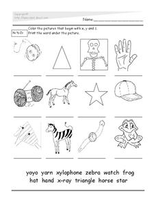 Word Recognition: X, Y, Z Lesson Plan