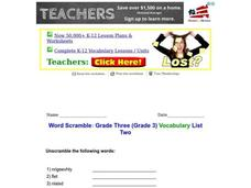 Word Scramble Worksheet