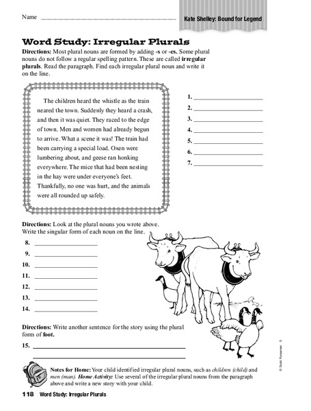 Word Study: Irregular Plurals Worksheet