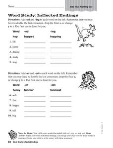 Word Study: Inflected Endings Worksheet
