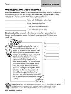 Word Study: Possessives Worksheet