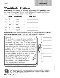 Word Study: Prefixes Worksheet