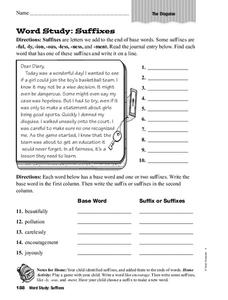 Word Study: Suffixes Worksheet