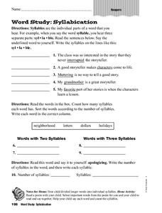 Word Study: Syllabication Worksheet