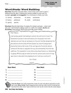 Word Study: Word Building Worksheet