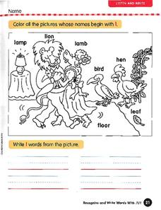 Words That Begin With L Worksheet