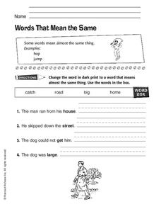 Words That Mean the Same Worksheet