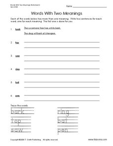 Words With Two Meanings Worksheet