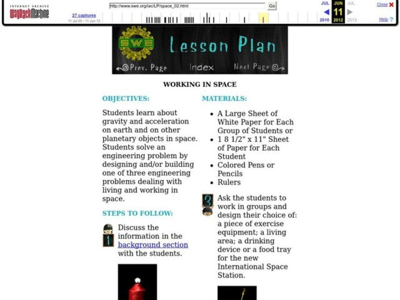 Working in Space Lesson Plan