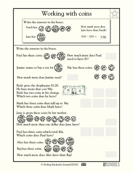 Working with Coins Worksheet